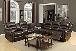 NHI Express Amelia Leather Air Sectional, Brown