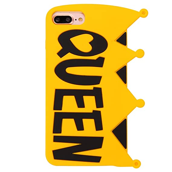 low priced 66dc6 a43fb King Queen iPhone 6Plus 6S Plus Case,Awin 3D Fashion King Queen Yellow Soft  Rubber Silicone Phone Case With Metal Chain (Queen)