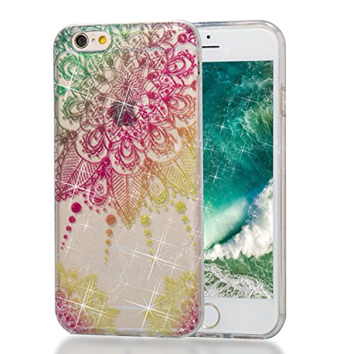 lYonge, For iPhone 6 6s 4.7 inch Cover, Shinning Glitter Flexible Soft Rubber Gel Clear Transparent TPU Silicone Back Case for Apple i6 i 6s Cover Case (Color mandala) - Shinning Gel