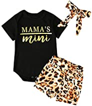 AmzBarley Toddler Baby Clothes 2Pcs Set Kids Girl T-Shirt Top + Floral Shorts Outfits with Headband 0-24 Month