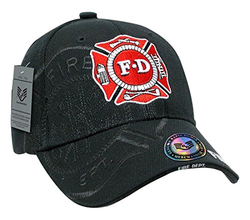 Rapiddominance Fire Department Shadow Law Enforcement Cap, Black (Embroidery Fire Dept)