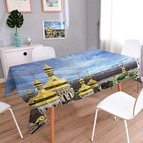 PINAFORE HOME Square Solid Tablecloth Kiev Ukraine Cupolas of pechersk lavra Monastery and River dniepr Panoramic City View Stain Resistant, Washable, Liquid Spills Bead up/Square, 70 x 70 Inch ()