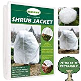 """Remiawy Plant Covers Freeze Protection Frost Blanket for Plants Trees Shrubs-Reusable Shrub Covers Jacket with Zipper Drawstring, Frost Cover for Animal Protection (85""""X75"""" Shrub Jacket 2 oz/sq yd)"""