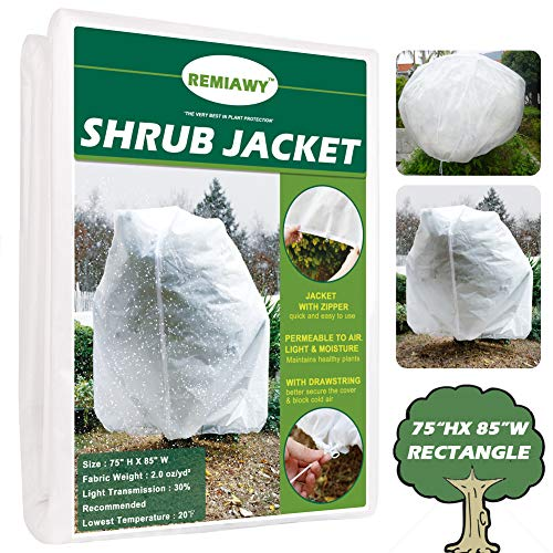 Remiawy Plant Covers Freeze Protection Frost Blanket for Plants Trees Shrubs-Reusable Shrub Covers Jacket with Zipper Drawstring, Frost Cover for Animal Protection (85