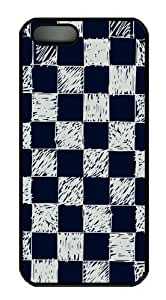 iPhone 5S Case and Cover -Blue and white checkered background PC case Cover for iPhone 5 and iPhone 5s ¡§CBlack
