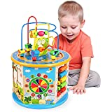 Elover Activity Cube, 8 in 1 Activity Center Toys Baby Educational Wooden Bead Maze Shape Sorter for 1 Year Old Boys Girls Kids Toddlers Gift