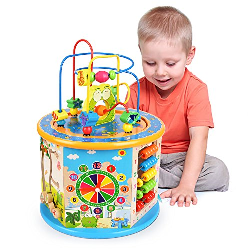 Elover Wooden Activity Cube Toys, 8 in 1 Activity Center Bead Maze Multi-Purpose Educational Early Learning Toys for Kids Toddlers Boys Girls