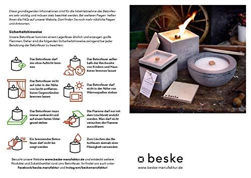Betonfeuer Beske-Manufaktur Dauerdocht Kerze Gartenfackel Größe 10x10x10