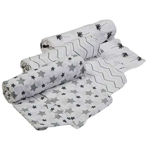 Cutie Bebe Nursery Muslin Swaddle Blanket Set- Large Bamboo Receiving Blanket for Newborn, Baby Girl Or Boy Unisex, 47