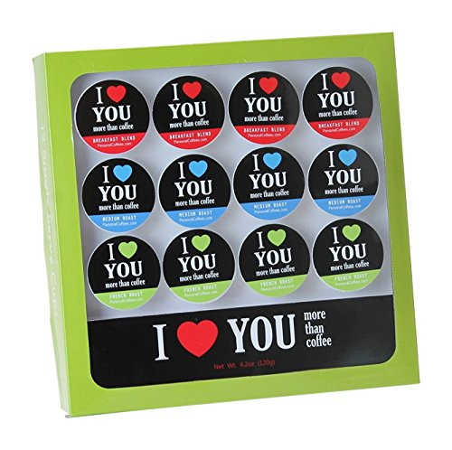 I LOVE YOU MORE THAN COFFEE Single Serve Coffee Variety Cups - 12 Cup Gift Box