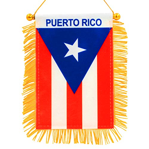 - Anley 4 X 6 Inch Puerto Rico Window Hanging Flag - Rearview Mirror & Double Sided - Fringed Puerto Rican Mini Banner with Suction Cup