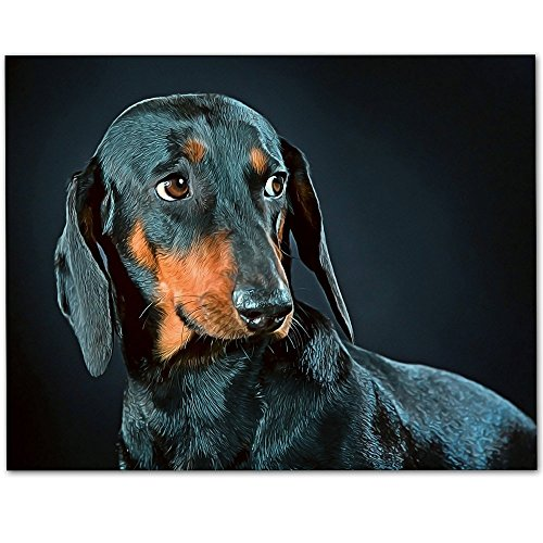 Blue Dachshund Artwork - 11x14 Unframed Art Print - Great Gift for Dog Lovers (Personalized Dog Signs)