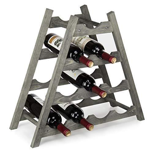 MyGift 10-Bottle Rustic Gray Wood Countertop Wine Rack