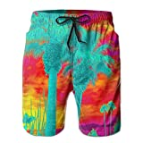 confirm vt Mens Quick Dry Beach Shorts Psychedelic Palm Trees Floral Boardshorts Swim Surf Trunks