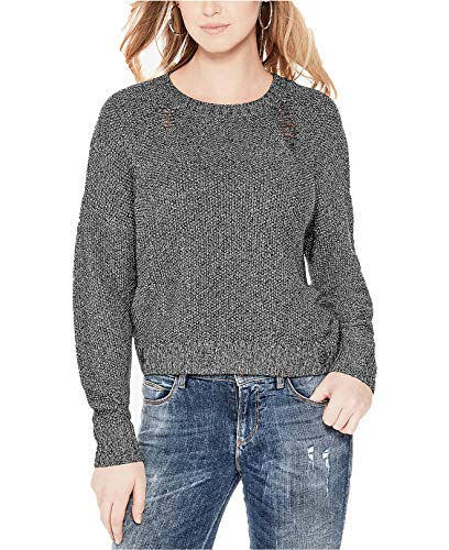 GUESS Womens Metallic Knit Distressed Crop Sweater Gray XS