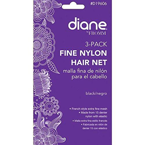 Diane Nylon Hair Nets, Black, 3-Pack