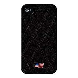 Stylish Black Leather Flag of United States Lustroso abrigo lleno carcasa iPhone 4s de UltraFlags