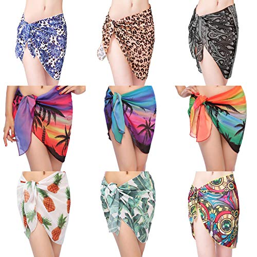Botiou Short Women's Swimsuit Beach Wrap Sarong Cover Up Chiffon Swimsuit Wrap Skirts Beach Shawl