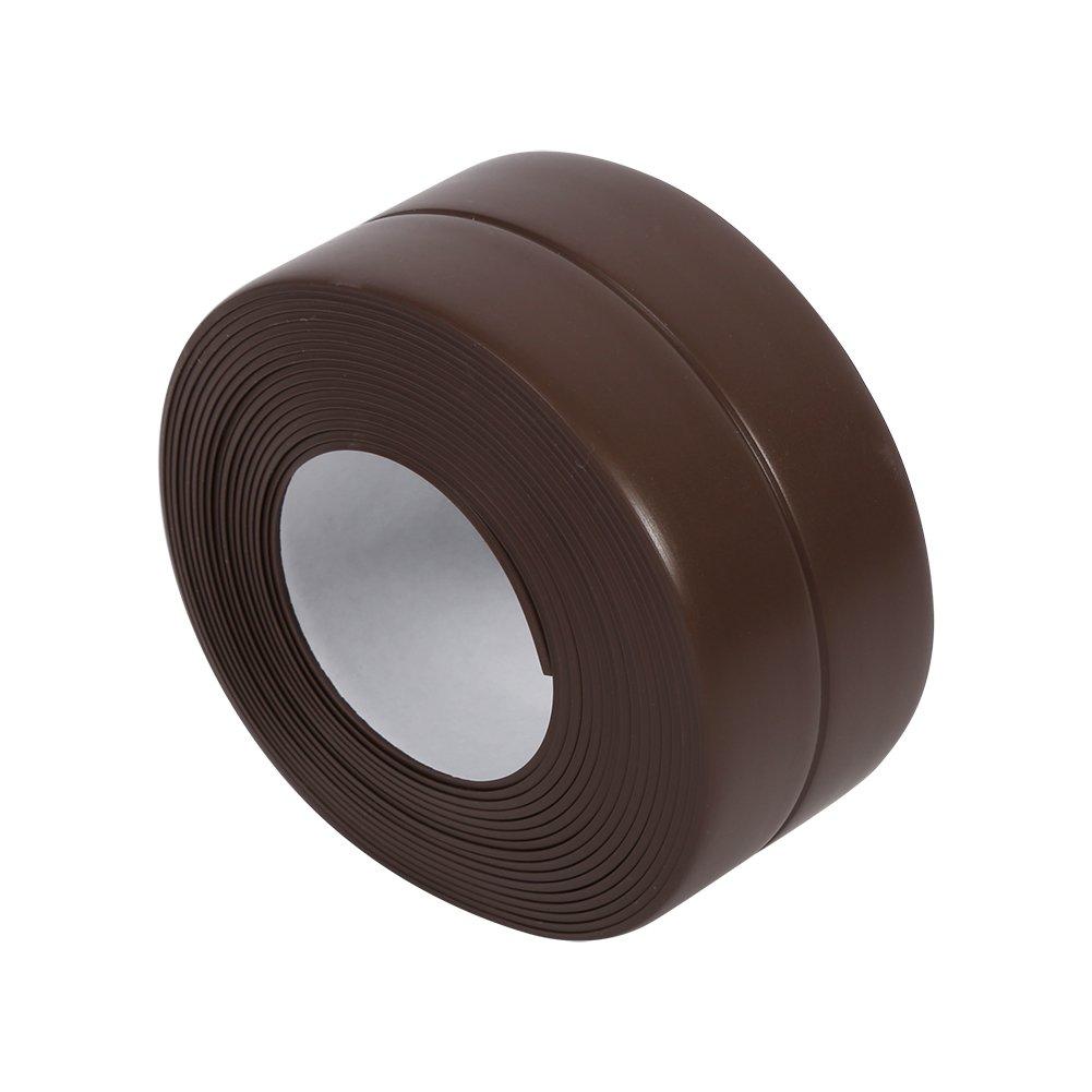 3.2 Meters Wall Sealing Strip Caulk Tape Self Adhesive Kitchen Sink Bathroom Basin Tub Edge Waterproof Decorative Trim Flexible PVC Mildew Proof Sealant Strip Keep Wall Corner Countertop Clean (Brown (22mm*3.2M)) Yosoo