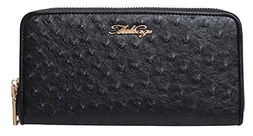 Aitbags Wallets for Women Ostrich Leather Clutch Zippered Around Purses and Handbags