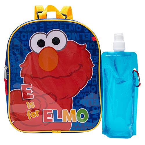 Sesame Street Backpack Combo Set - Sesame Street Boys' 3 Piece Backpack Set - Elmo, Cookie Monster & Big Bird Backpack, Waterbottle and Carabina (Red/Blue) ()