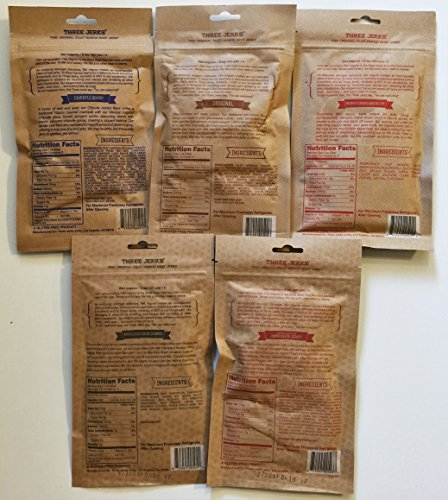 Three Jerks Jerky Ultimate Sampler (Try All 5 Flavors) Original, BBQ, Chipotle, Hamburger, Maple Bourbon