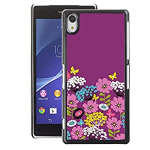 A-type Arte & diseño plástico duro Fundas Cover Cubre Hard Case Cover para Sony Xperia Z2 (Teal White Flowers Stylistic)