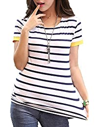 FOREVER YUNG Women's Slim Fit Short Sleeve O Neck Striped Shirt