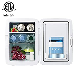Kinverch Mini Fridge Electric Cooler and Warmer(10L/11Can) :110v AC / 12V DC Portable Thermoelectric System,,For Car /Home /Kichen/Junket/Outdoor for frinds / parents/yourself (Blue, 10L) (Blue, 10L)