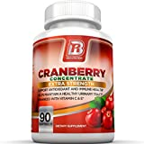 BRI Nutrition 3x Strength 12,600mg CranGel Power Plus: High Potency, Maximum Strength Cranberry SoftGel Capsules With 12,600 Grams Equivalent of Cranberries Fortified with Vitamins C and Natural E - 90 Softgels