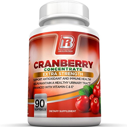 BRI Nutrition 3x Strength 12,600mg CranGel Power Plus: High Potency, Maximum Strength Cranberry SoftGel Capsules Fortified with Vitamins C and Natural E - 90 Softgels