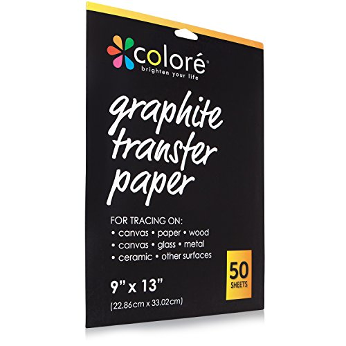 Colore ProVisible Graphite Transfer Artist Paper 9x13 - Boldly Create Art With Reusable & Erasable Carbon (50 Sheets)