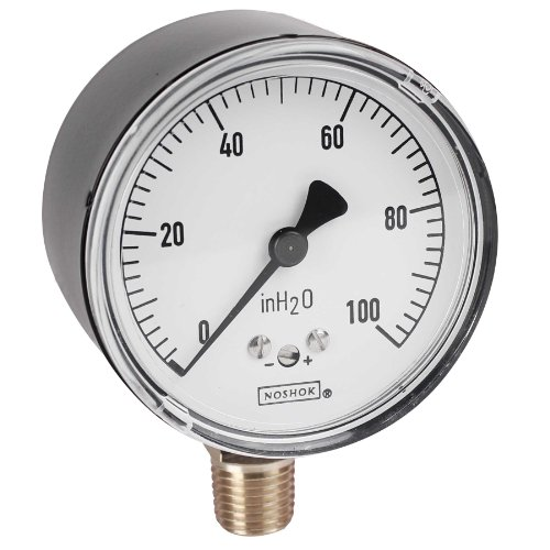 NOSHOK 200 Series Steel Dry Dial Indicating Low Pressure Diaphragm Gauge with Bottom Mount, 2-1/2