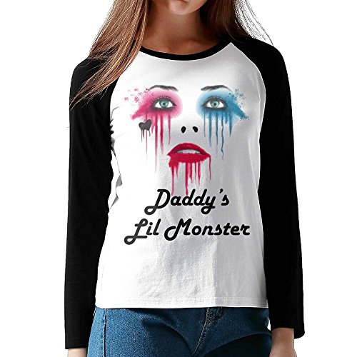 Woman Daddy's Lil Monster - Harley Quinn 3/4 Sleeve Plain Raglan Tshirts Baseball Graphic Tops (Lil John Shirt compare prices)
