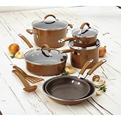 Rachael Ray(r) Cucina Hard Porcelain Enamel Nonstick Cookware Set, 12-Piece