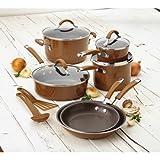 faberware porcelain cookware - Rachael Ray(r) Cucina Hard Porcelain Enamel Nonstick Cookware Set, 12-Piece (Mushroom Brown)
