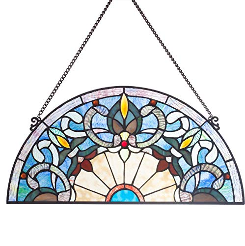 "River of Goods  11"" H Victorian Corista Half-Moon Stained Glass Window Panel - Blue"