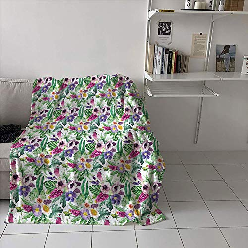 Suchashome Calla Lily Blanket Couch,Garden Art Design Colorful Composition with Calla Lily Anemone Petals and Leaves,Print Summer Quilt Comforter,Digital Printing Blanket 40