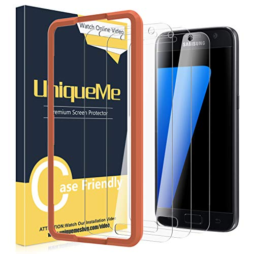 [3 Pack] UniqueMe Screen Protector for Samsung Galaxy S7 Tempered Glass,[Alignment Frame] Easy Installation HD-Clear Anti-Scratch Screen Protector with Lifetime Replacement Warranty (Best Tempered Glass Screen Protector S7)