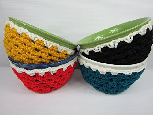 Crochet Soup Bowl Cozy, Handmade Bowl Holder, Set of 4 -