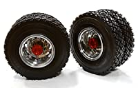 Integy Hobby RC Model C26579RED Machined Alloy T5 Rear Dually Wheel & XC Tire for Tamiya 1/14 Scale Trucks
