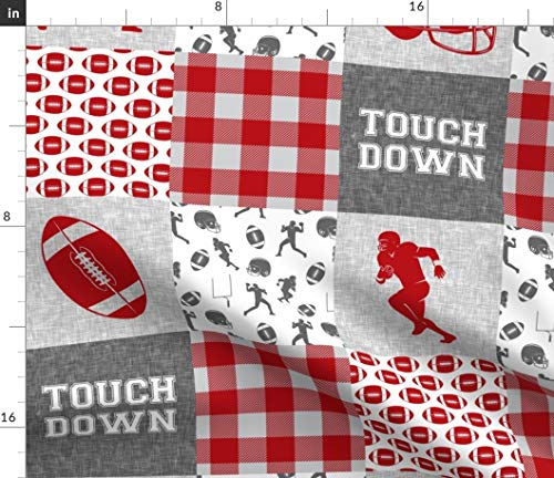 Football Fabric - Cheater Quilt Football College Sports College Football Trendy Baby Boy Red and Grey Cheater by Littlearrowdesign Printed on Minky Fabric by The Yard