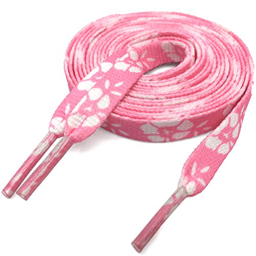 Thin Flat Pink Lucky Flowers Print Shoelaces