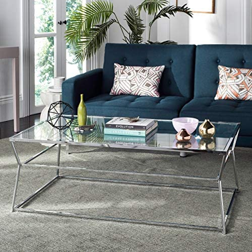 Safavieh Home Collection Ellie White and Glass Rectangle Coffee Table