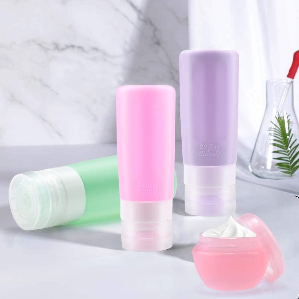 MEANTOBE Set de Botellas de Silicona para Viaje Contenedores de Viaje a Prueba de Fugas Aprobados por TSA para L/íquidos de Aseo 3 Pack
