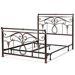 Lucinda Complete Bed with Intricate Metal Scrollwork and Sleighed Top Rail Panels