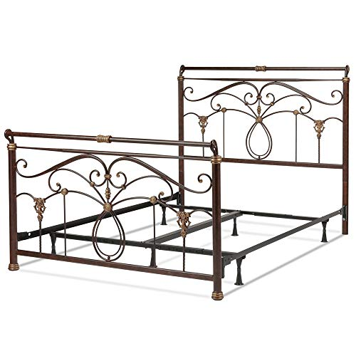 Leggett & Platt Lucinda Complete Metal Bed and Steel Support Frame with Intricate Scrollwork and Sleigh-Styled Top Rails, Marbled Russet Finish, Queen