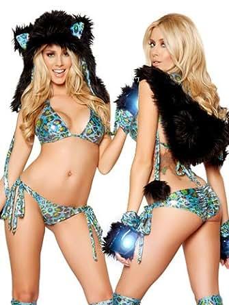 Blue Leopard Print Metallic Pucker Back Bikini Set - ONE SIZE