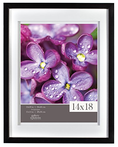 Gallery Solutions Black Airfloat Gallery Frame with Mat, 14 by 18-Inch Matted to 11 by 14-Inch