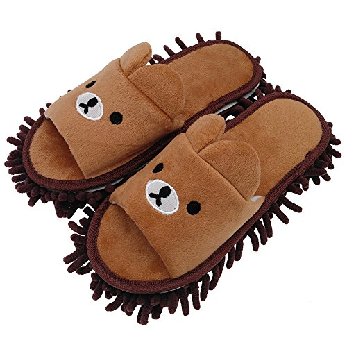 Selric Bear Image Super Chenille Microfiber Washable Mop Slippers Shoes